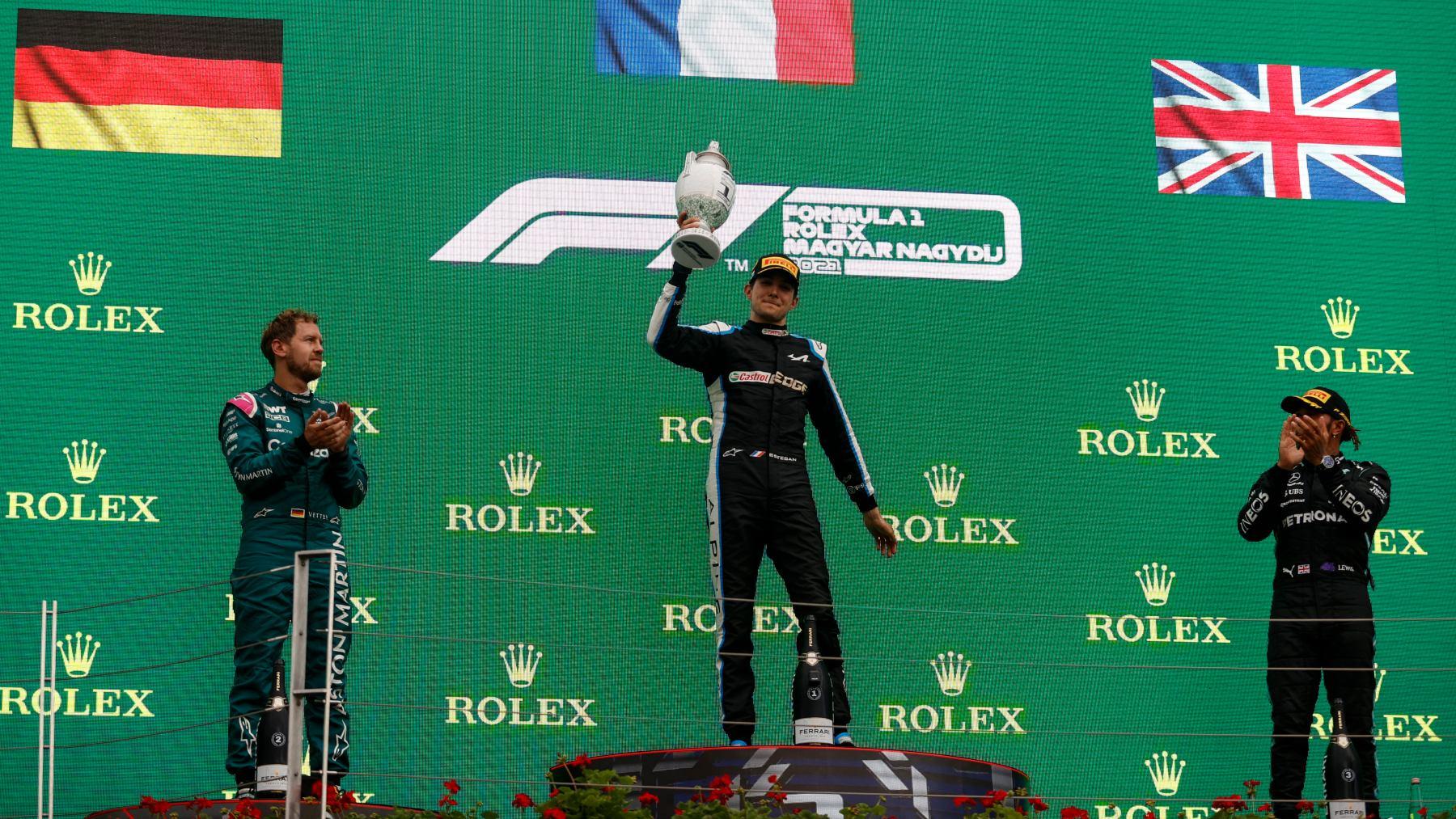Esteban Ocon, Sebastian Vettel y Lewis Hamilton en el podio del GP de Hungría. (AFP)