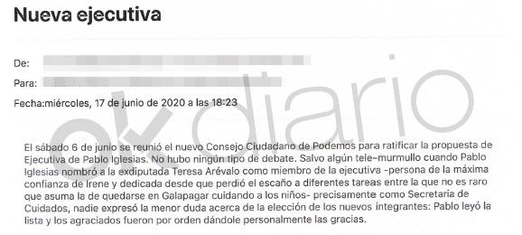 Email enviado internamente por un miembro de Podemos.