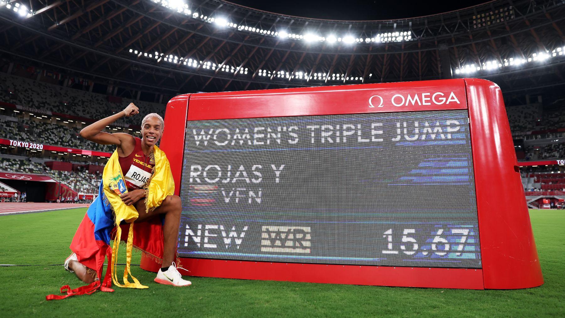 Yulimar Rojas, récord del mundo en triple salto. (Getty)