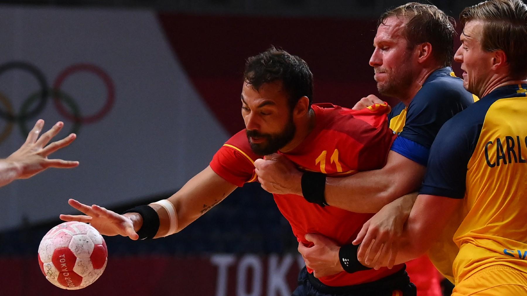 Sarmiento, en el partido contra Suecia. (AFP)