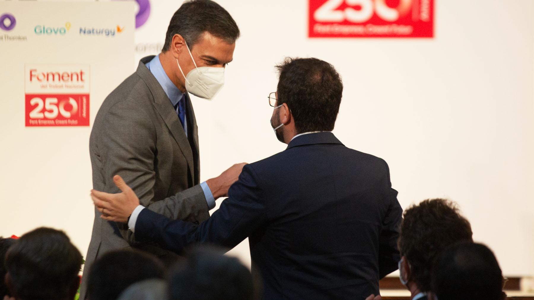 Pedro Sánchez y Pere Aragonès (Foto: EP)