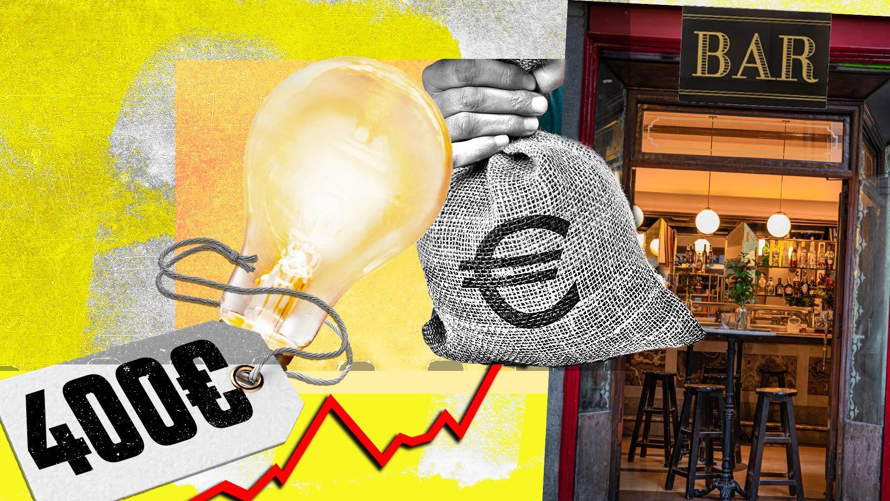 Fotomontaje de la subida de la luz para los comerciantes y los bares