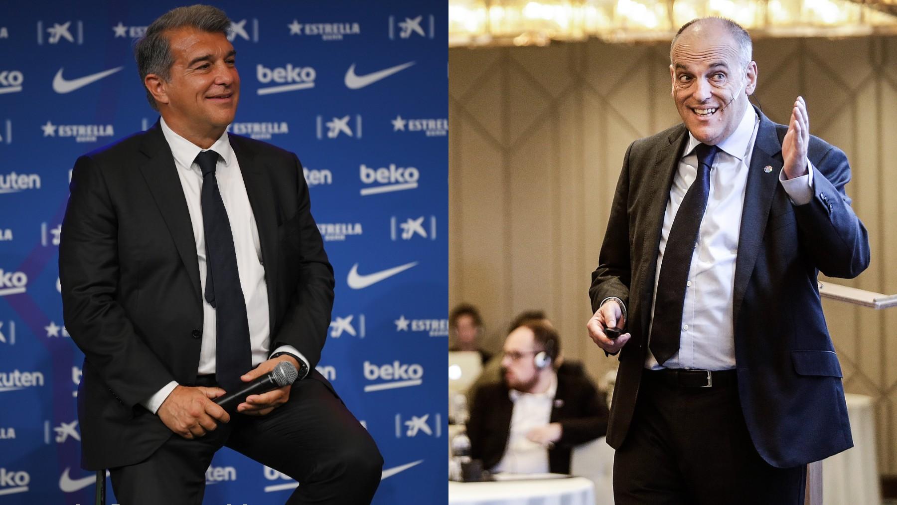Joan Laporta y Javier Tebas. (Getty)