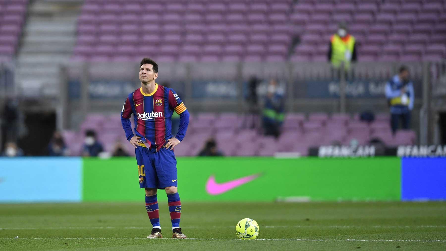 Leo Messi, durante un partido con el Barcelona (AFP)