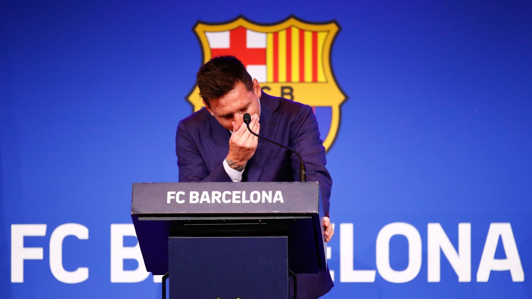 Leo Messi, durante su despedida del Barcelona. (Getty)