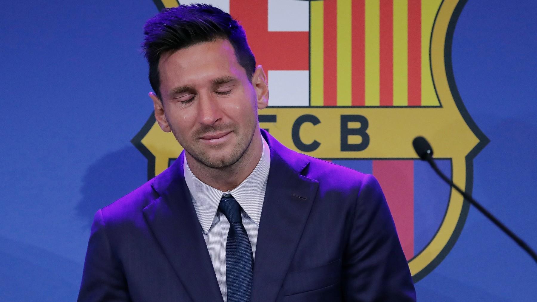 Leo Messi, durante el acto de despedida del Barcelona. (EFE)