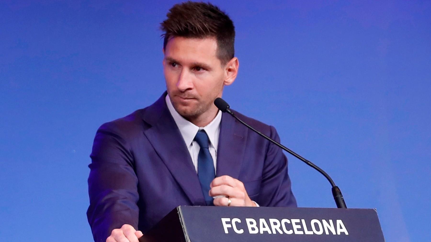 Messi, en el acto de despedida del Barcelona. (EFE)
