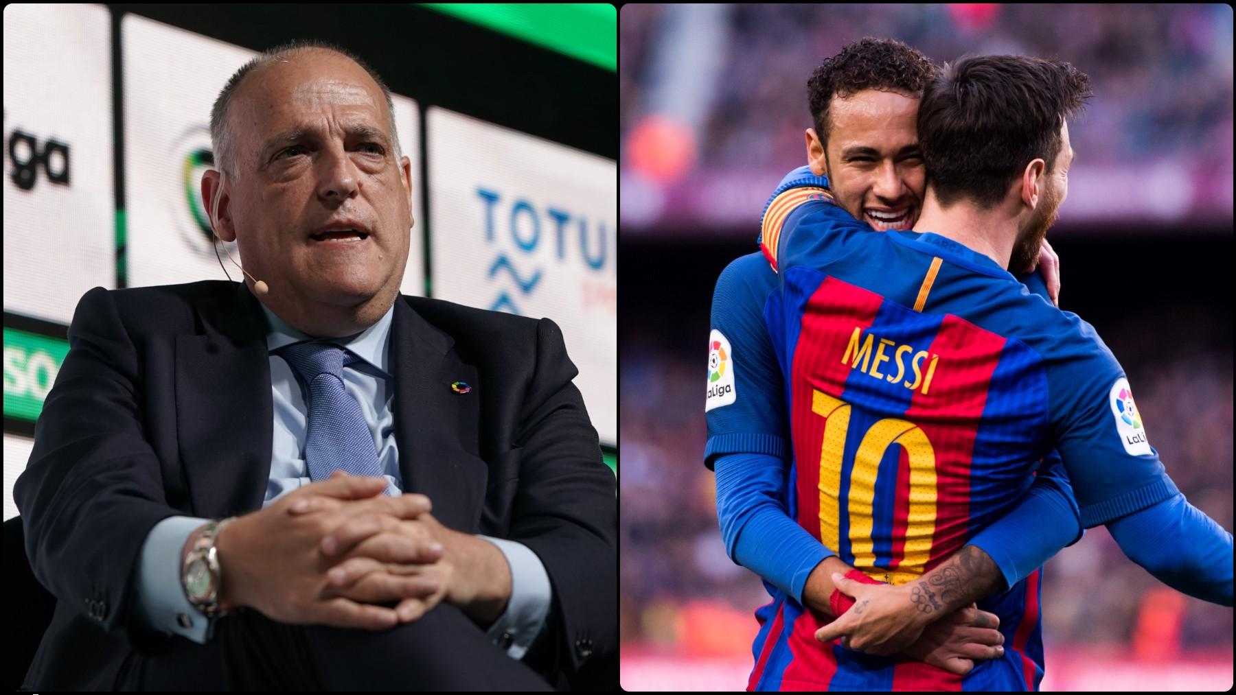 La Liga de Javier Tebas es el filial del París Saint-Germain. (Getty)