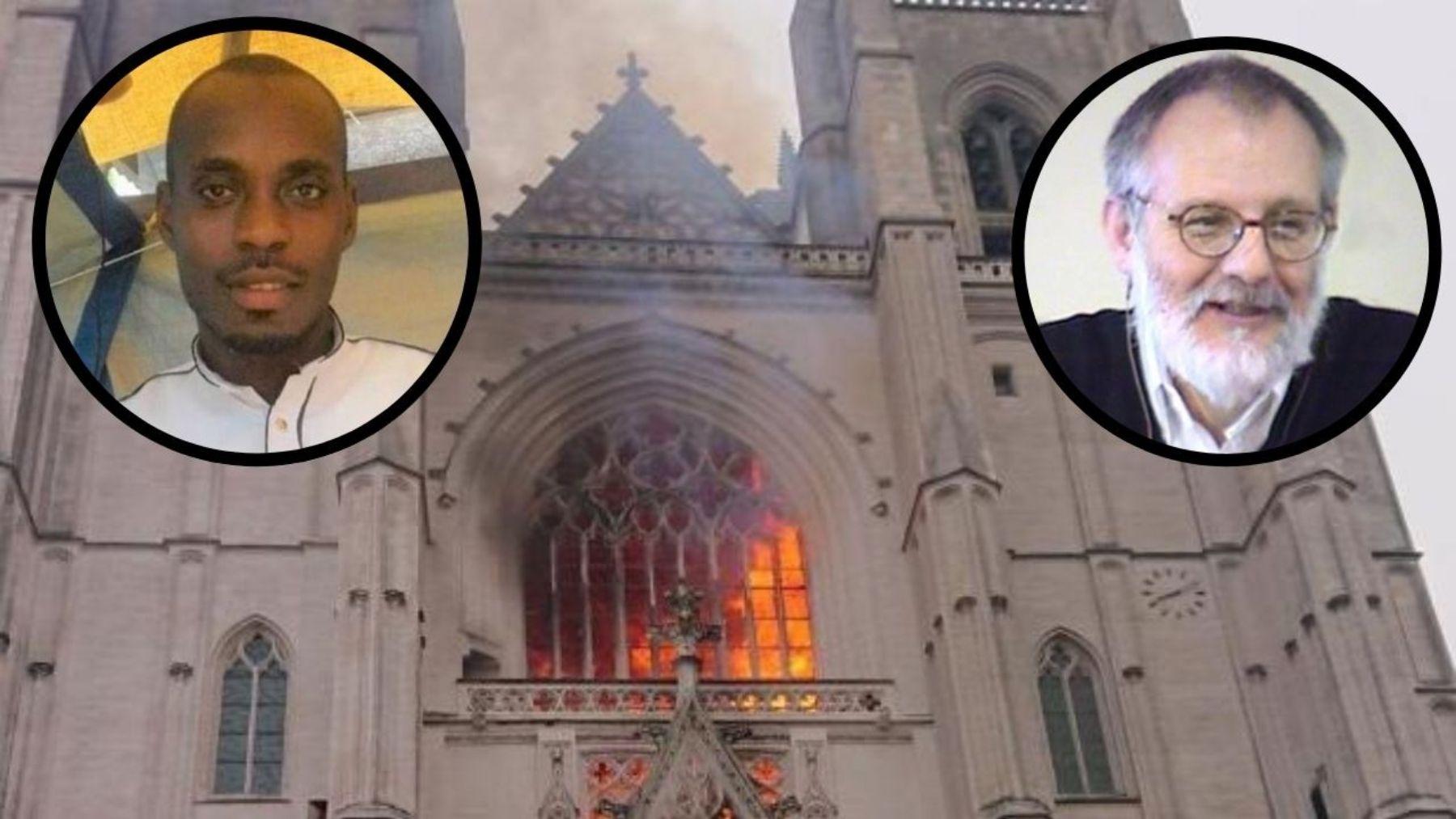 El incendiario de la catedral de Nantes y el cura asesinado.