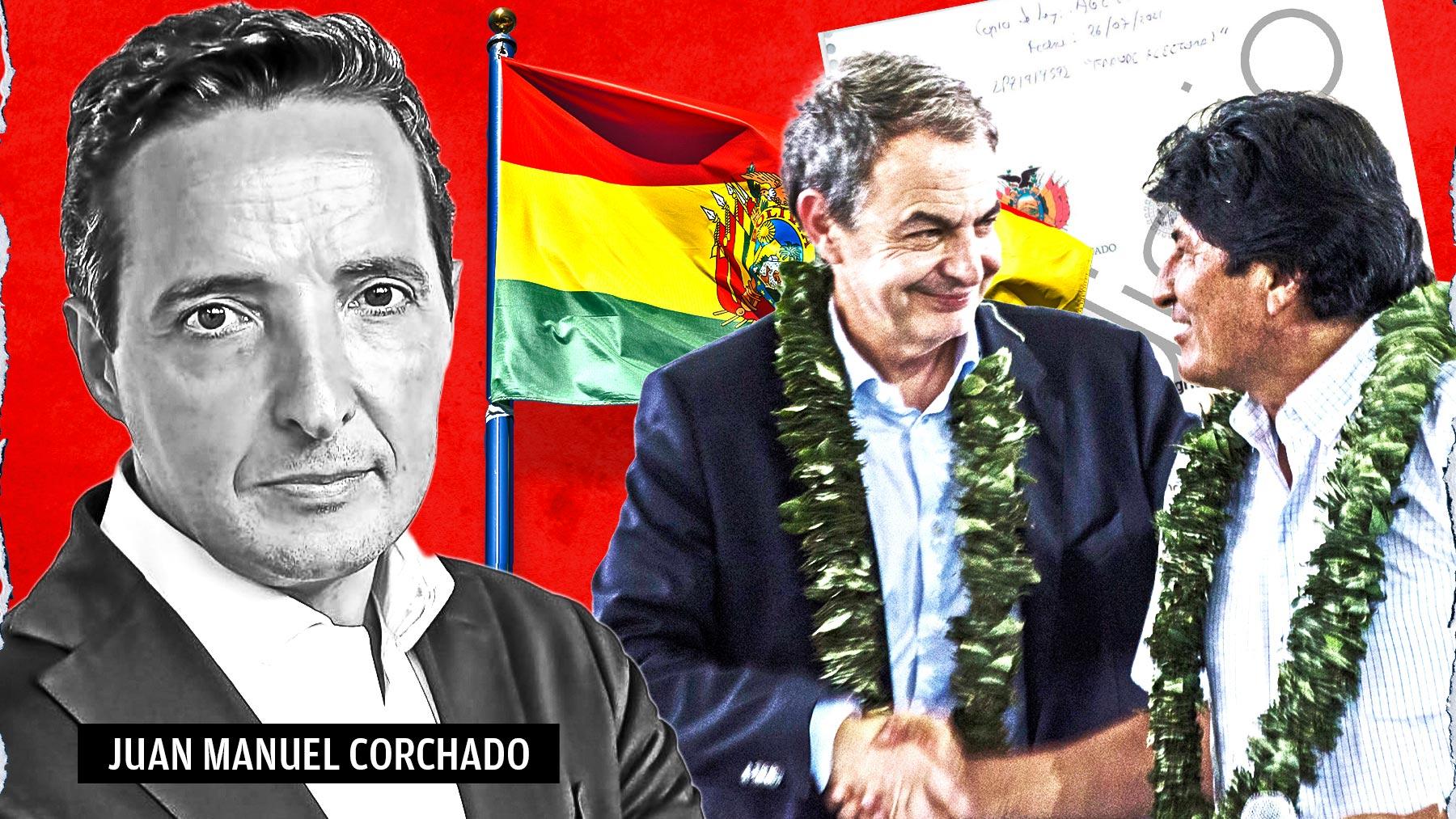 Juan Manuel Corchado, profesor de la Universidad de Salamanca,  junto con José Luis Rodríguez Zapatero y Evo Morales.