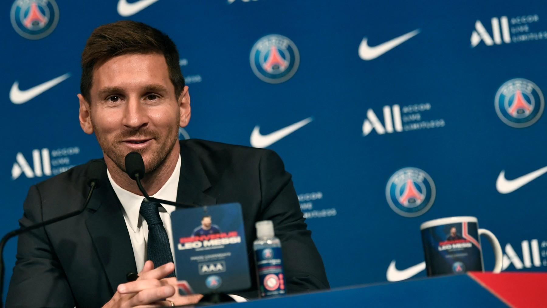 Messi en su presentación con el PSG.