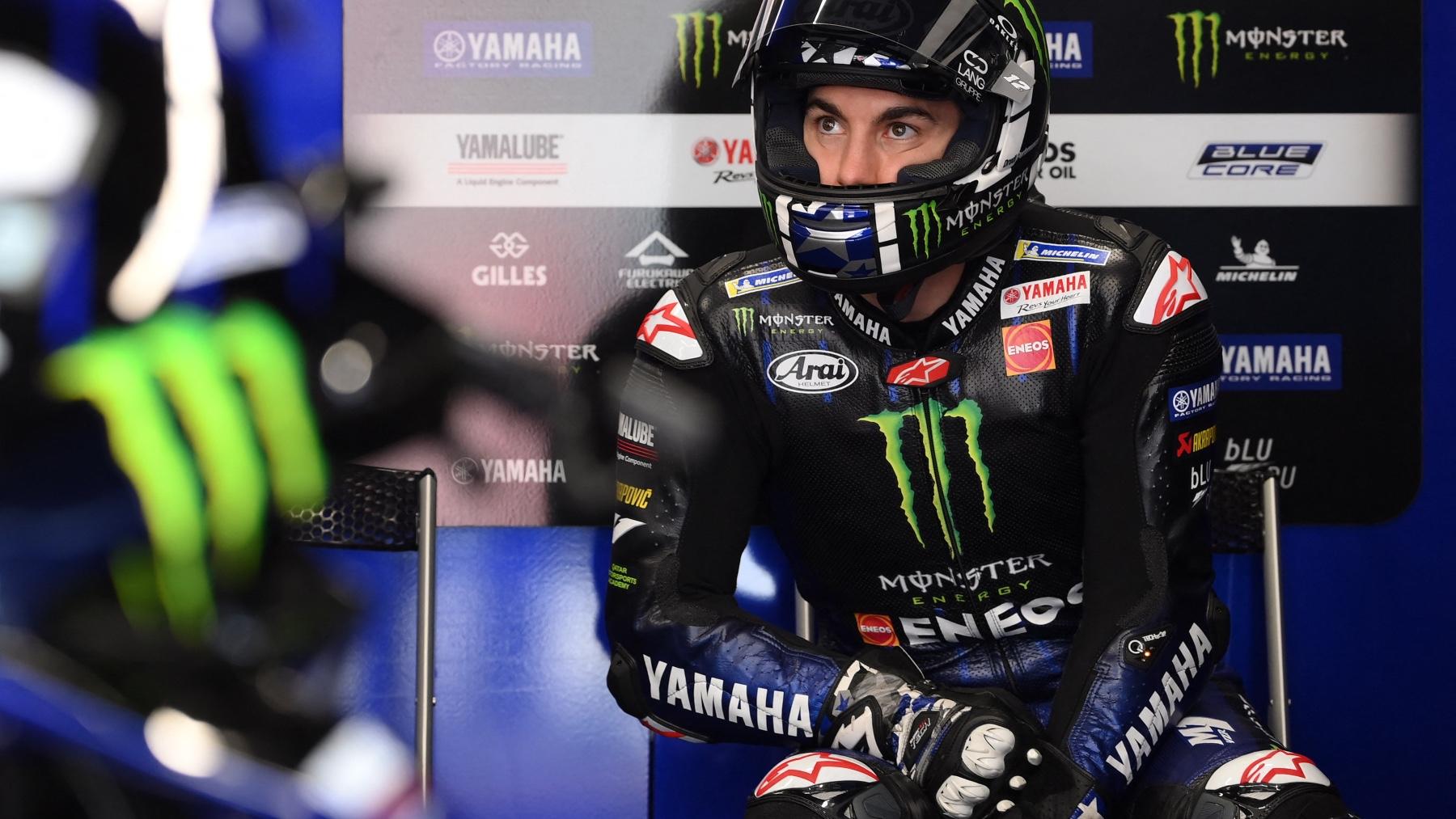 Maverick Viñales, en el boxes tras el Gran Premio de Estiria. (AFP)