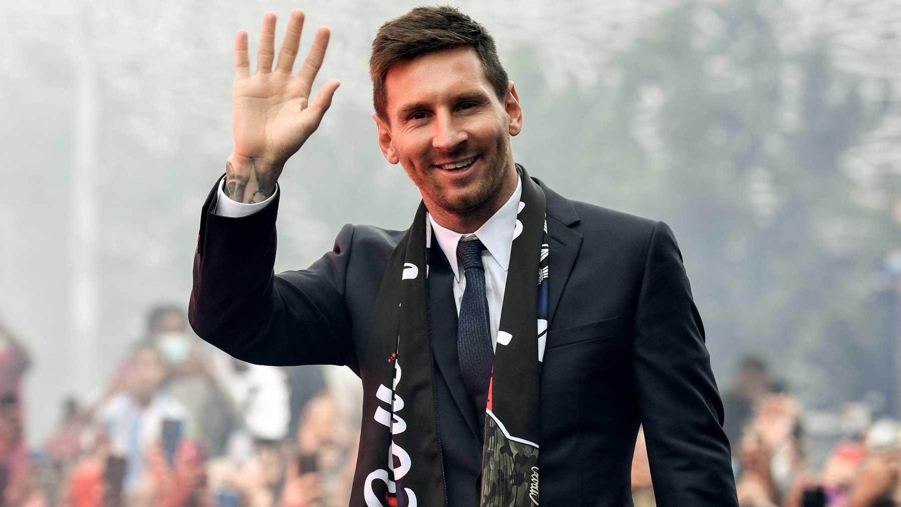 Leo Messi, en su presentación como nuevo jugador del PSG (AFP)