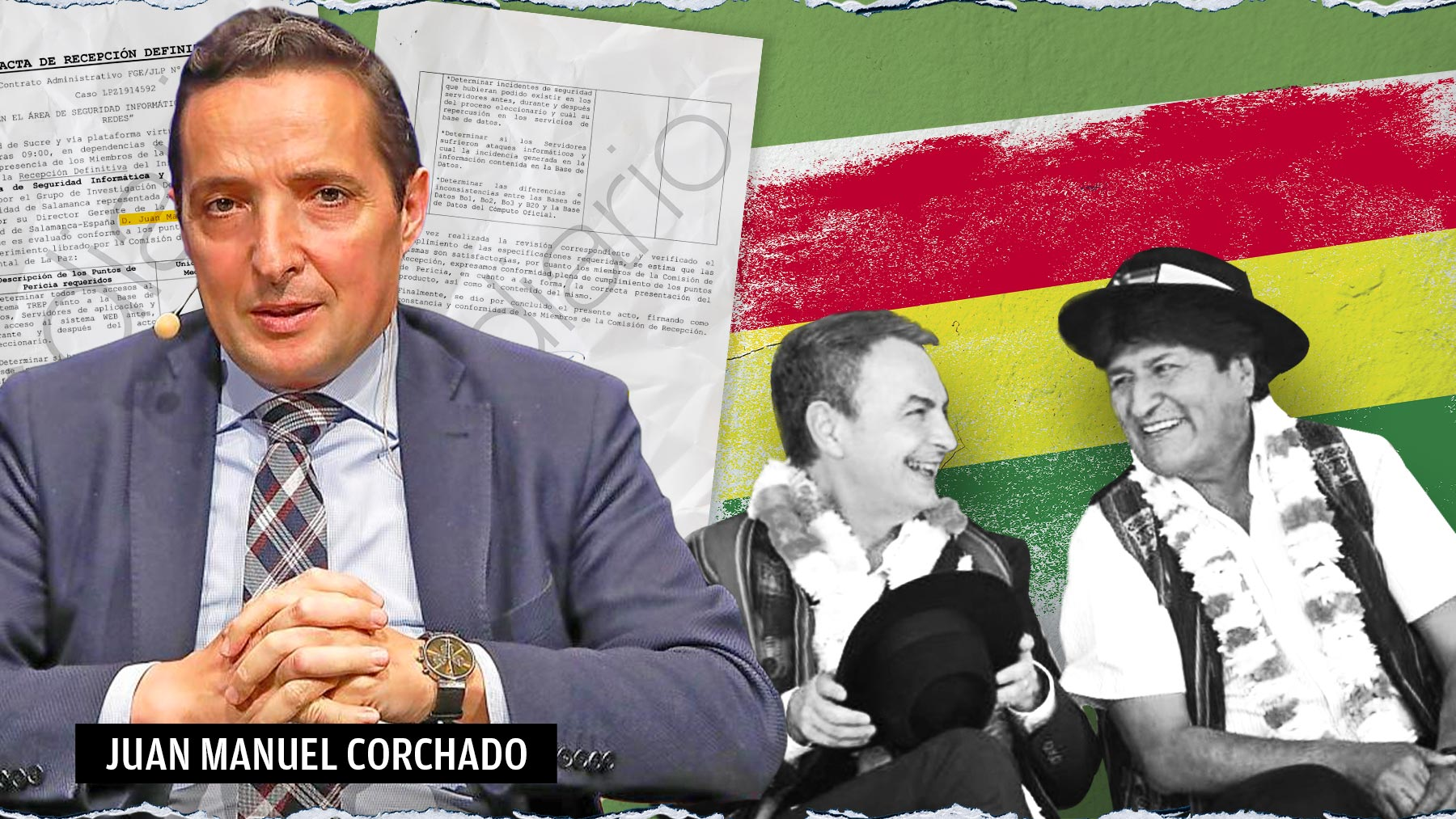 El profesor Juan Manuel Corchado junto con Evo Morales y José Luis Rodríguez Zapatero.