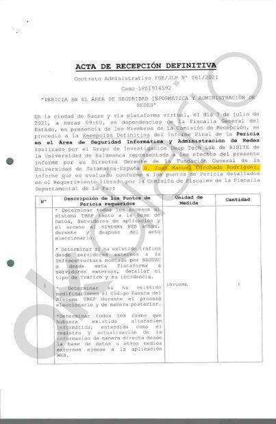 Recibí del informe de Juan Manuel Corchado firmado por la Fiscalía de Bolivia.