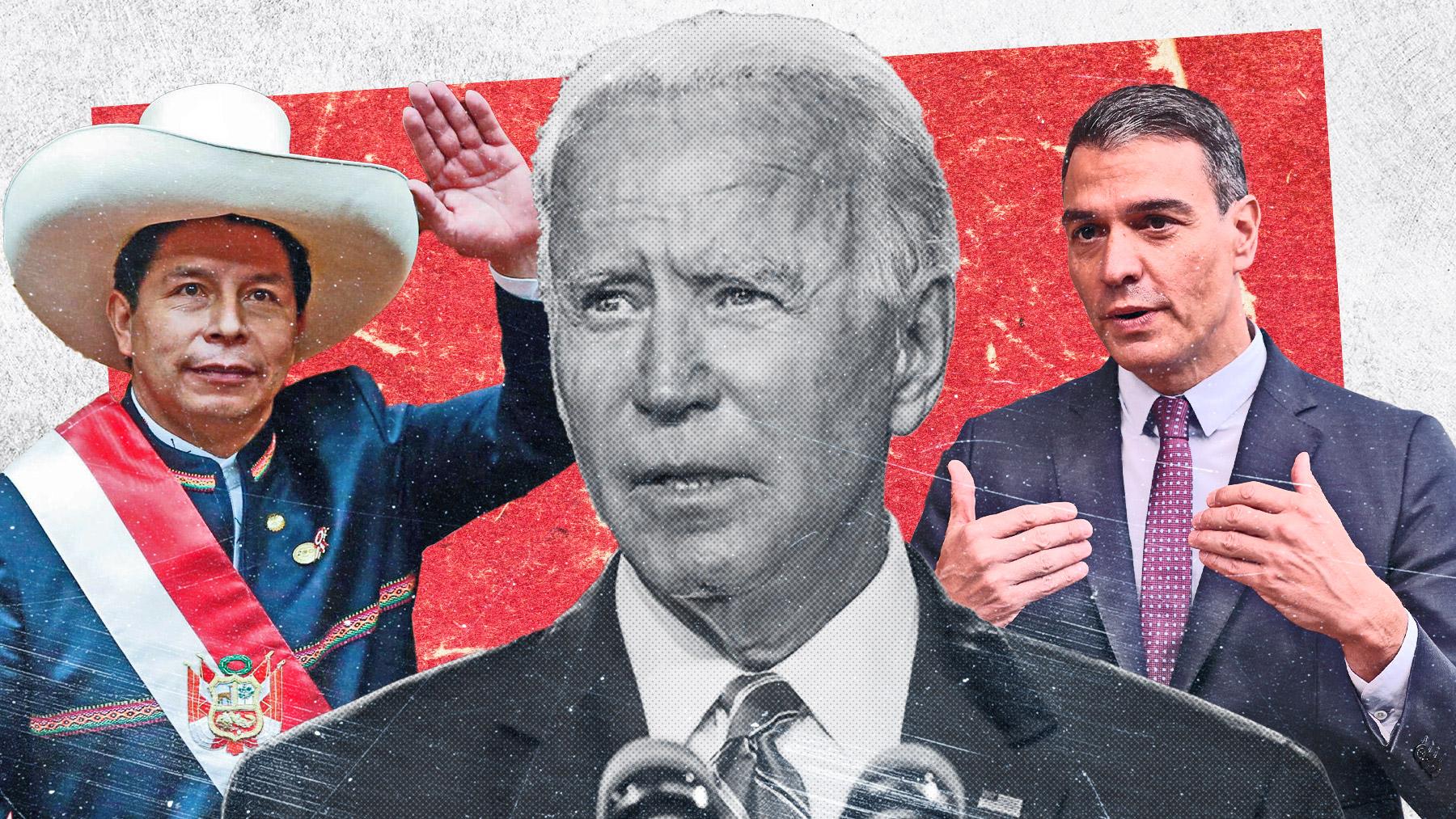 Joe Biden, entre Pedro Castillo y Pedro Sánchez.