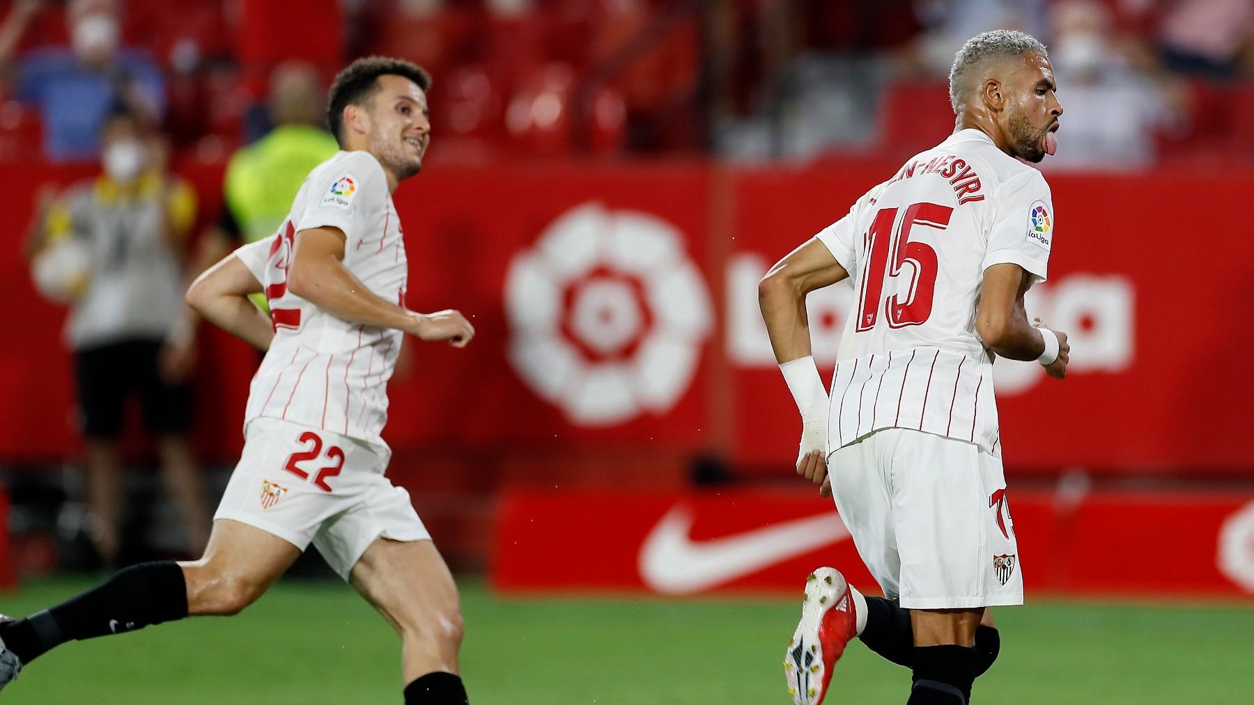En-Nesyri celebra un gol con el Sevilla. (EFE)