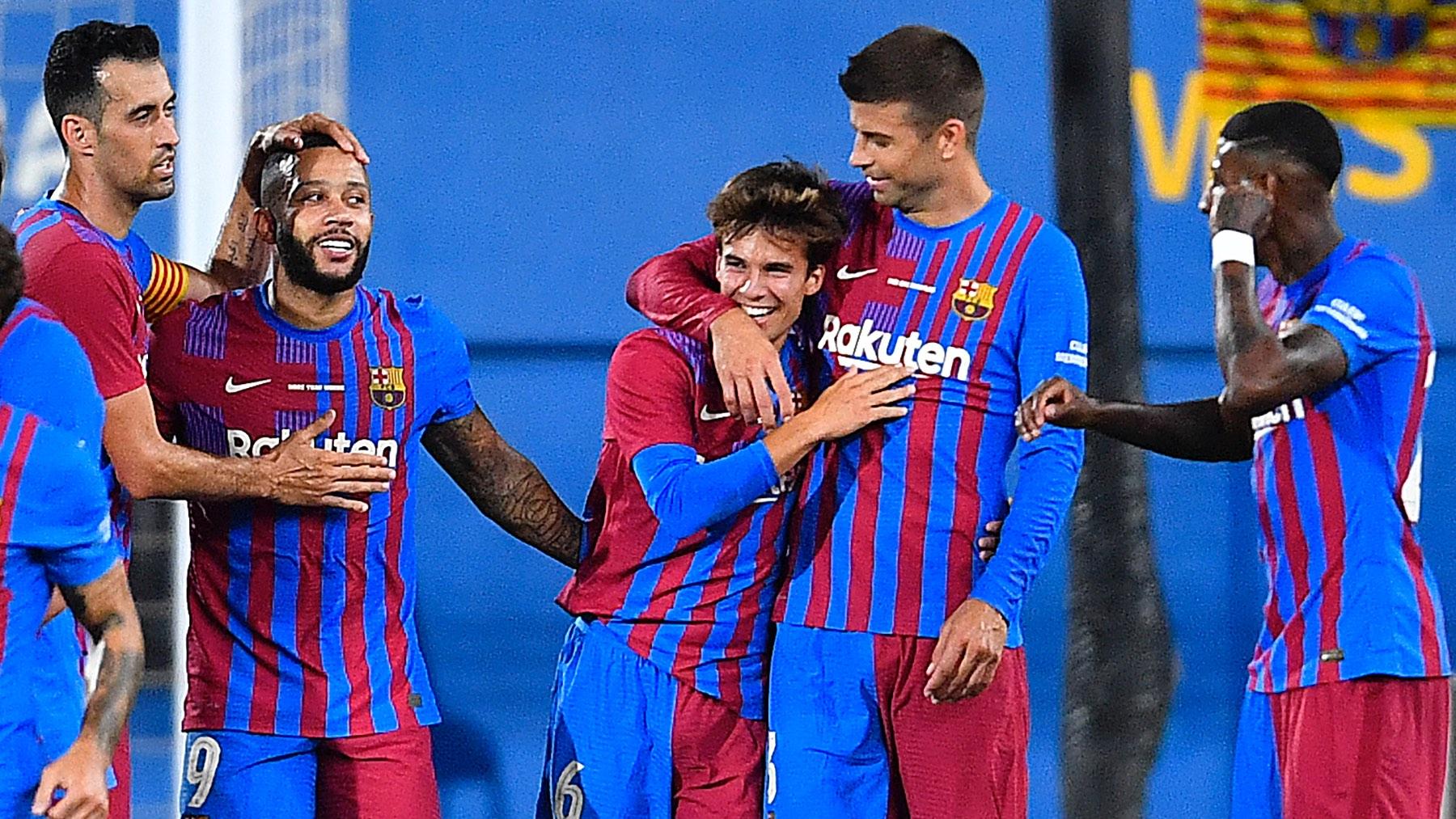 Riqui Puig tras anotar el 3-0 ante la Juventus en el Joan Gamper. (AFP)