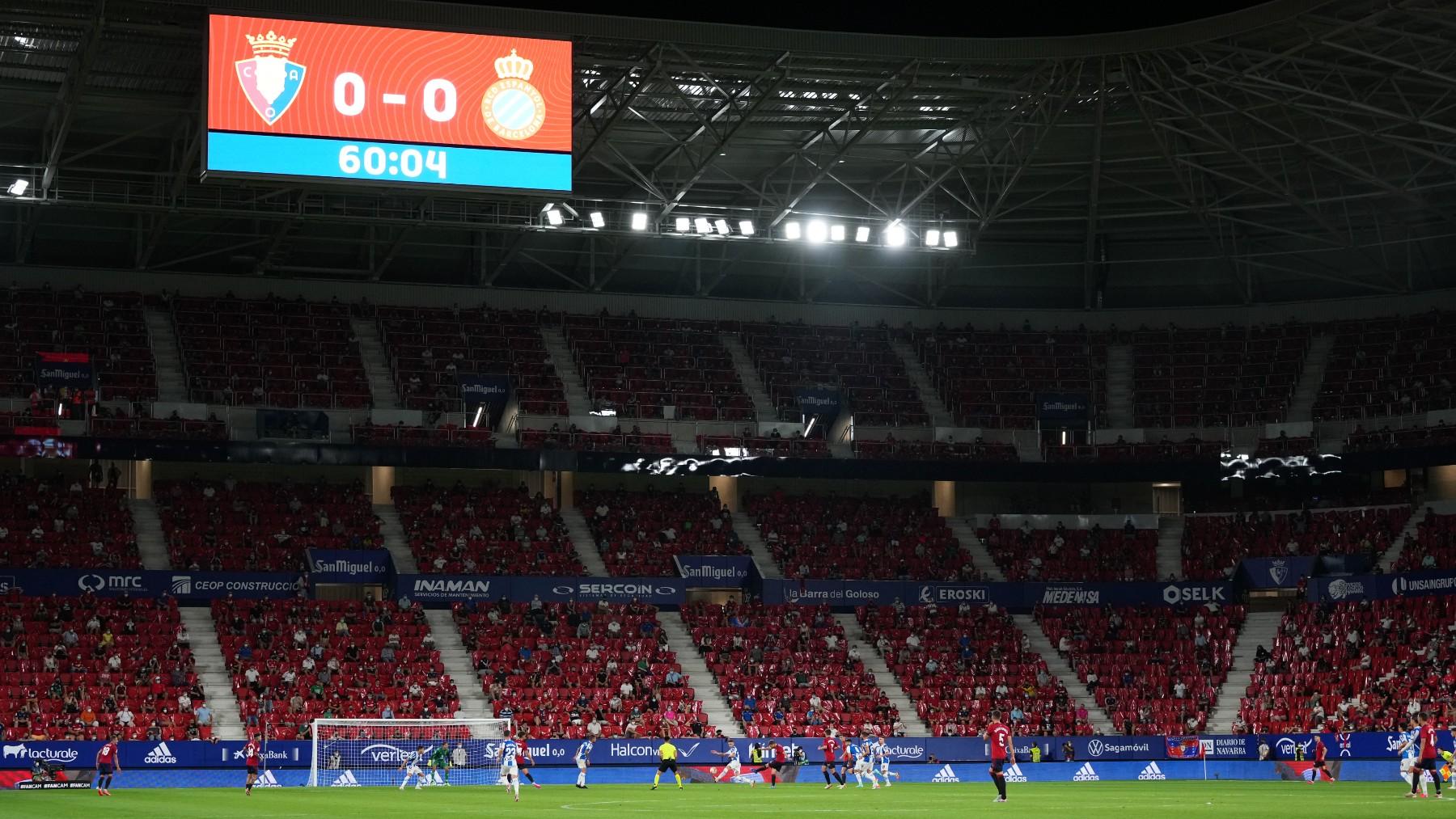 Un instante del Osasuna – Espanyol. (Getty)
