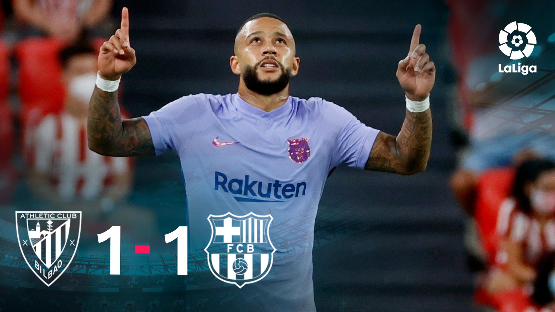 Memphis Depay celebra su gol en el Athletic-Barcelona.