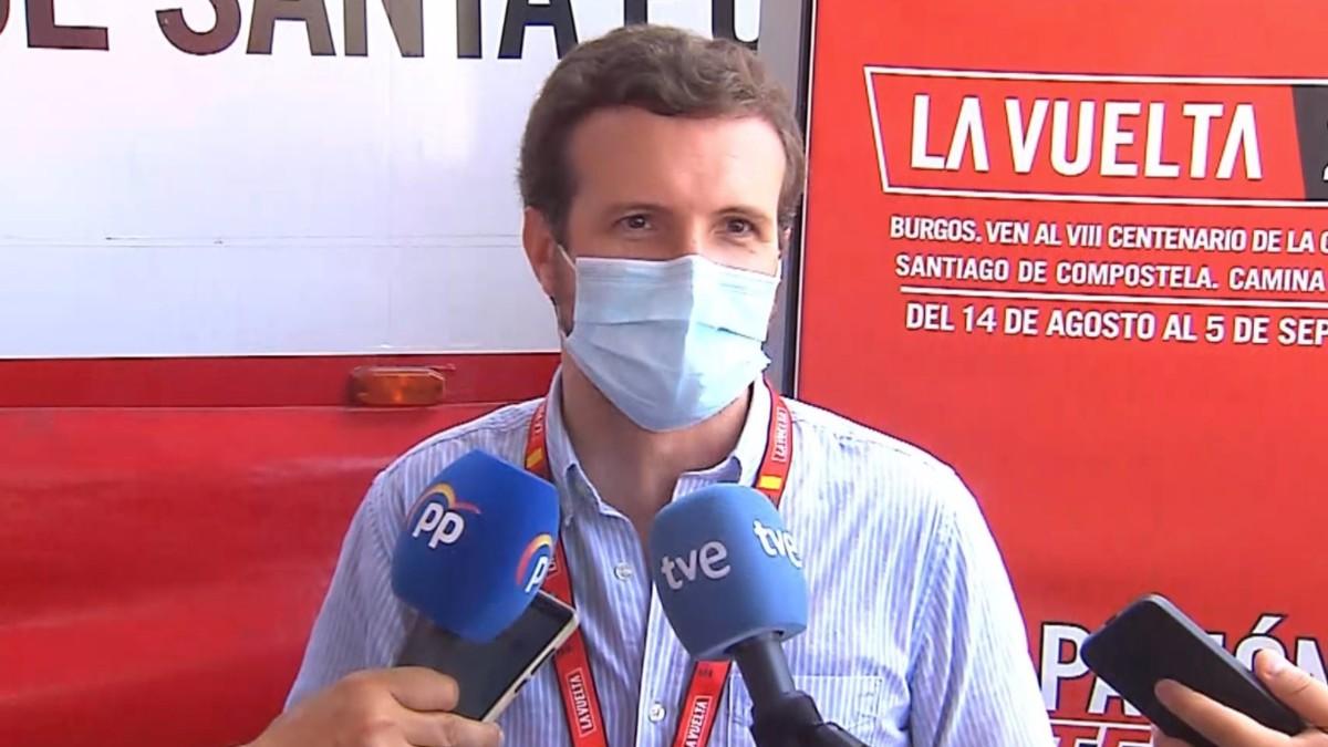 El presidente del PP, Pablo Casado, este sábado en Santa Pola (Alicante).