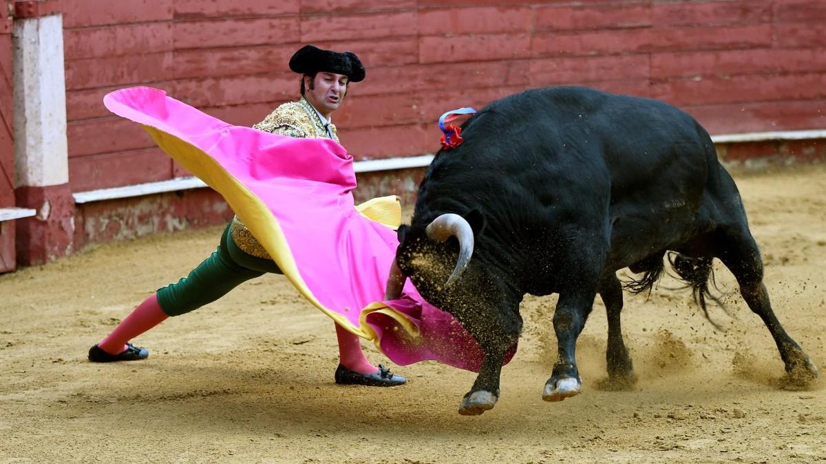 Morante da un pase en la primera corrida de la Feria de Almería.