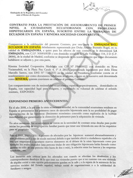 El contrato de 2013 entre Ecuador y Kinema usaba como pretexto la crisis económica que provocó Zapatero.