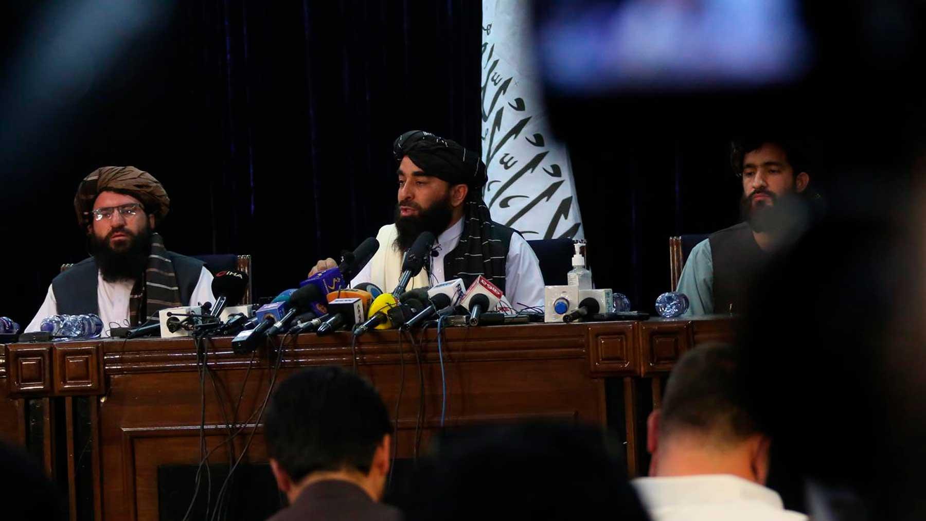 Rueda de prensa de los talibanes tras tomar el poder de Afganistán. Foto: EP