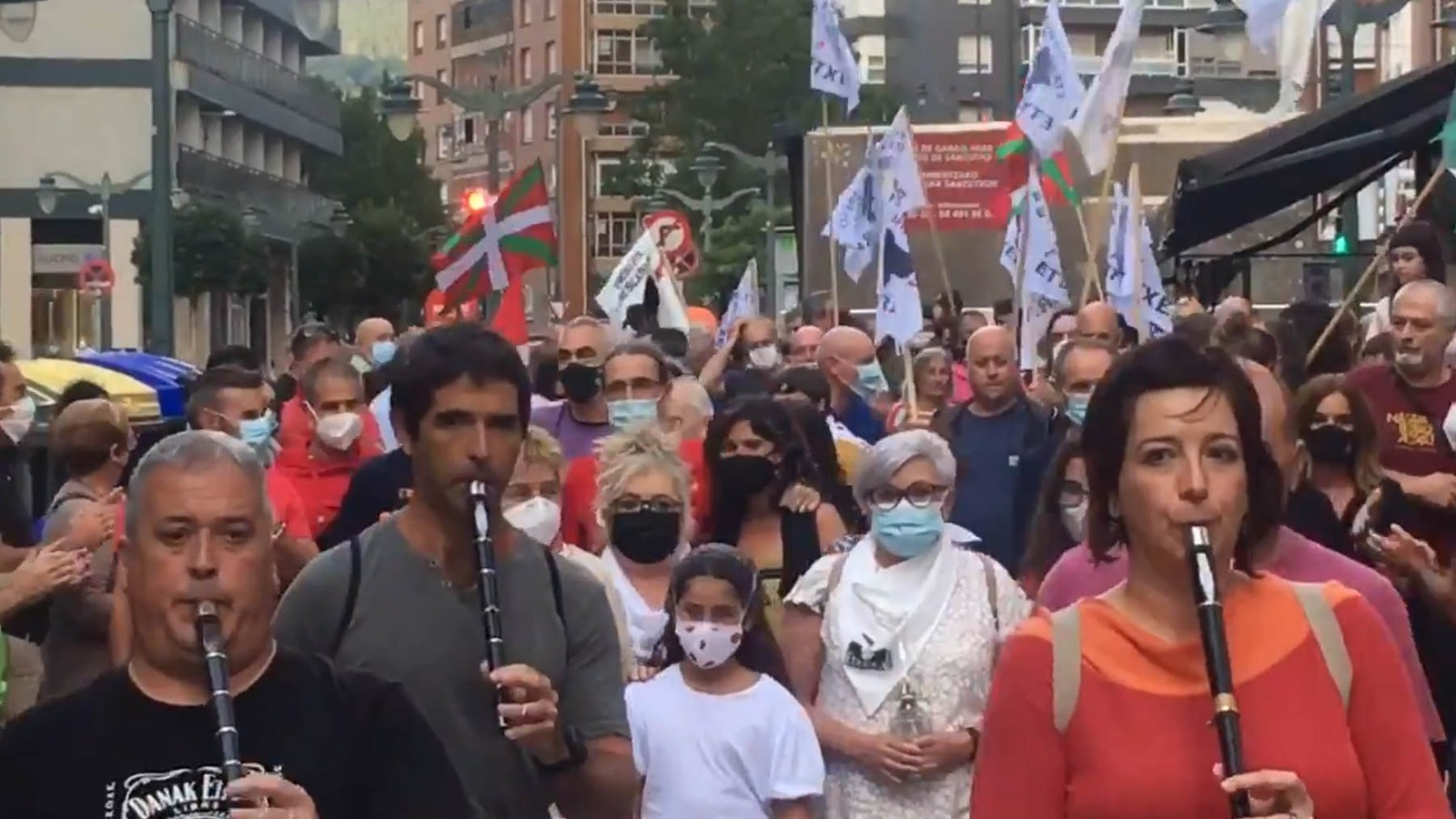 Manifestación en Bilbao en homenaje al etarra excarcelado Agustín Almaraz.