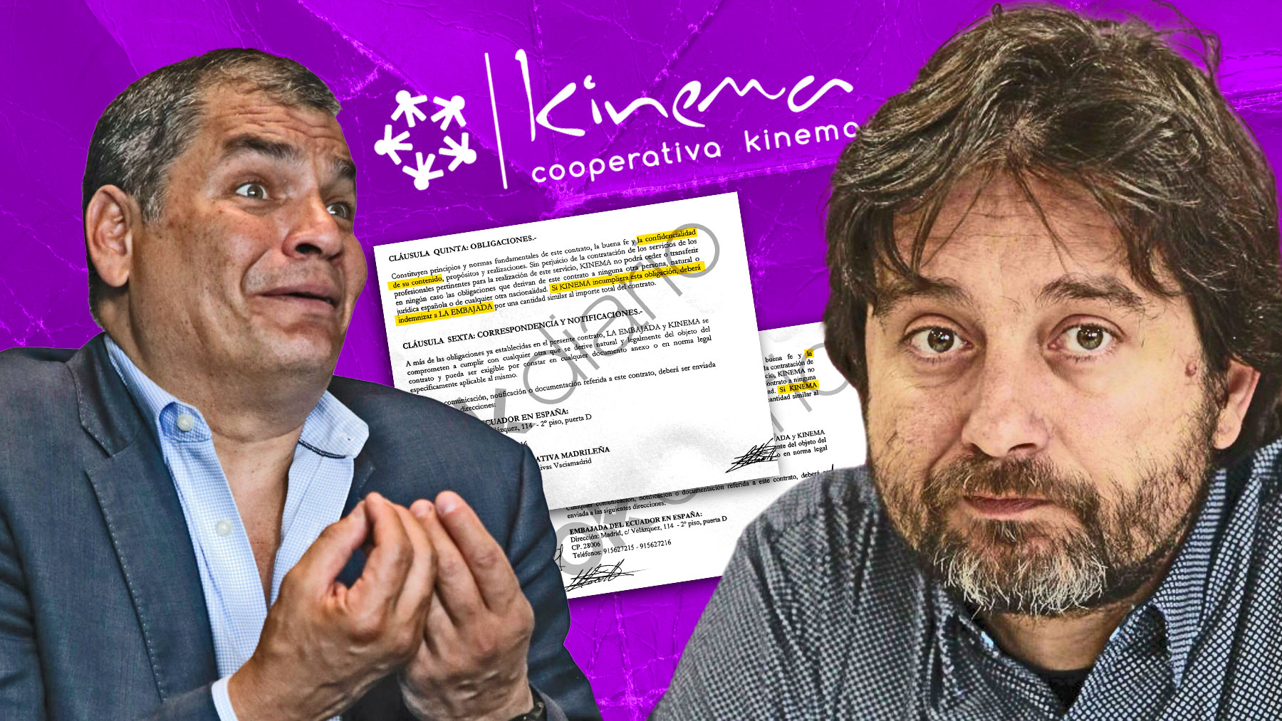 Rafael Correa y Rafael Mayoral, fundador de Kinema, la cooperativa de Podemos.