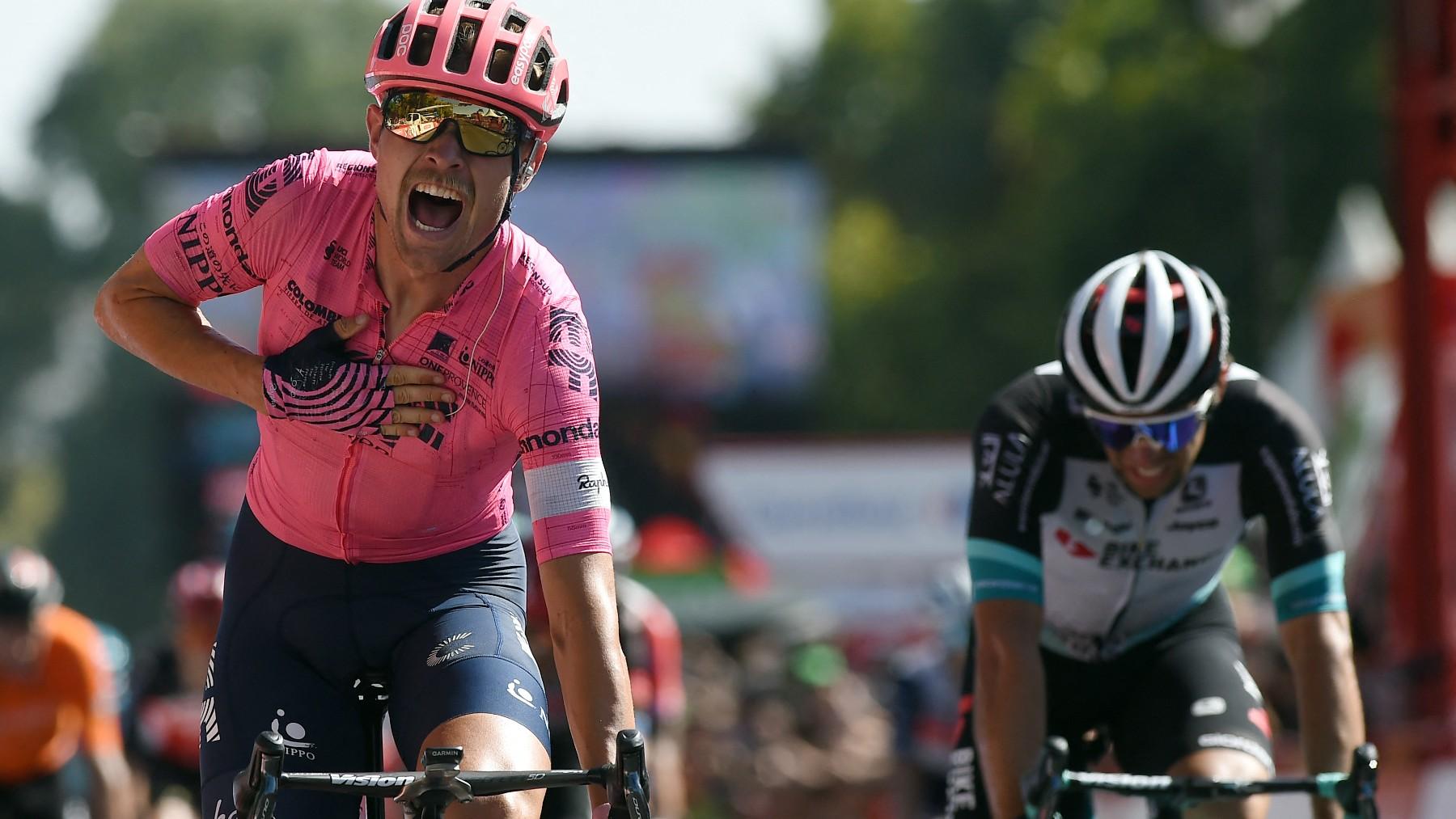 Cort Nielsen celebra su victoria en la Vuelta. (AFP)