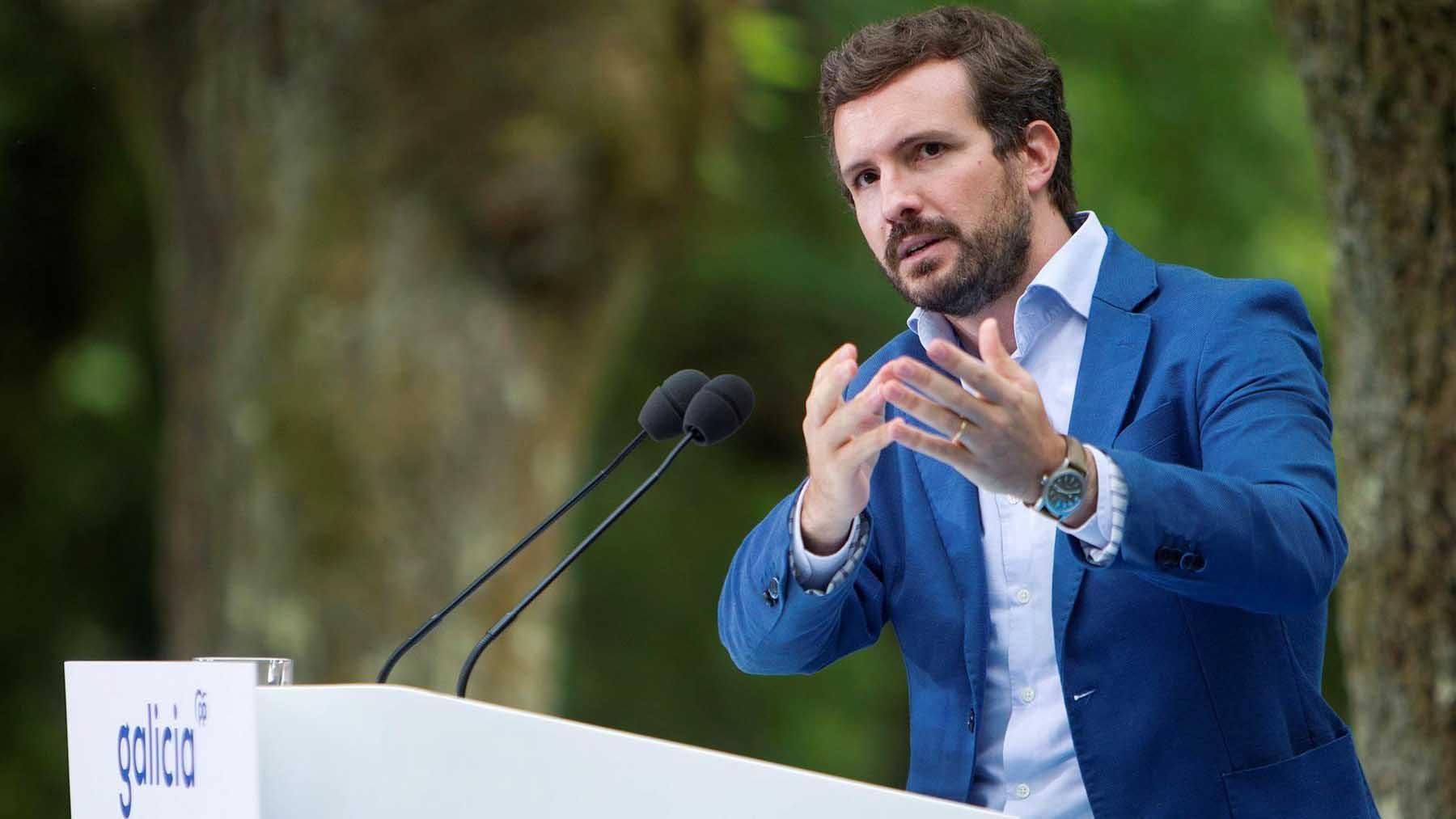 Pablo Casado durante un acto del PP en Pontevedra. Foto. EFE.