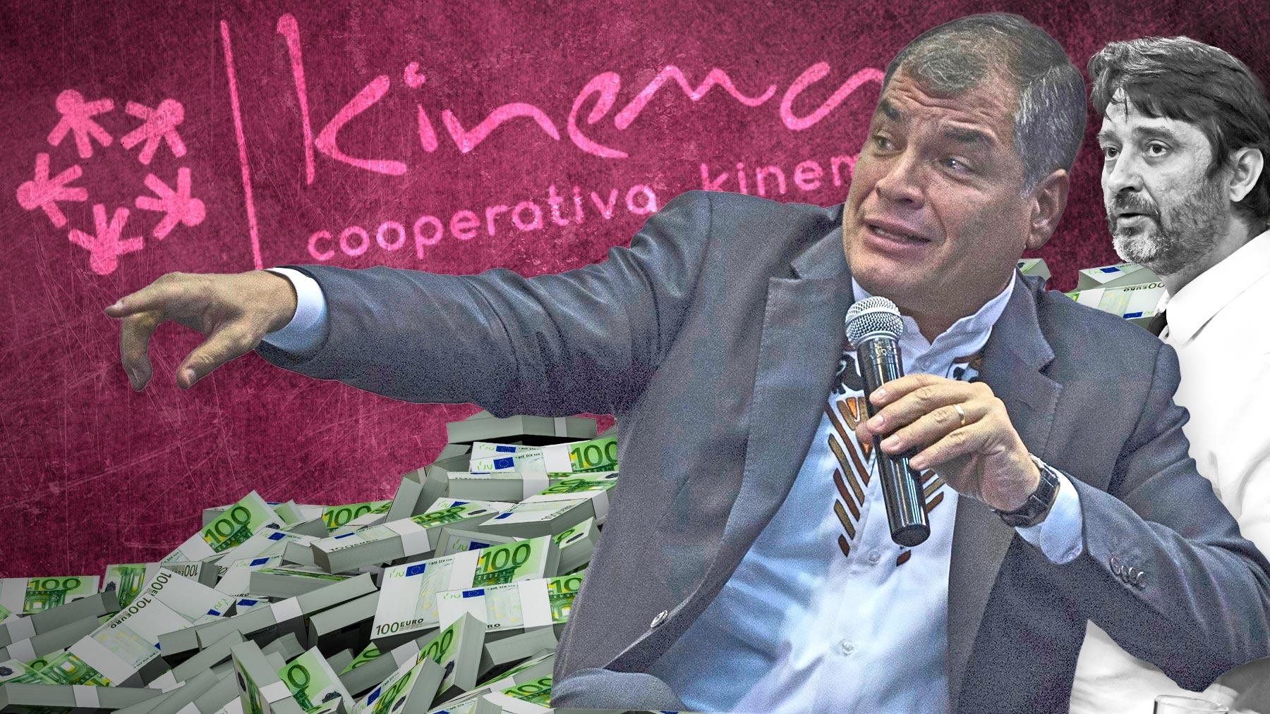 Rafael Correa junto con Rafael Mayoral, fundador de Kinema, la cooperativa de Podemos.