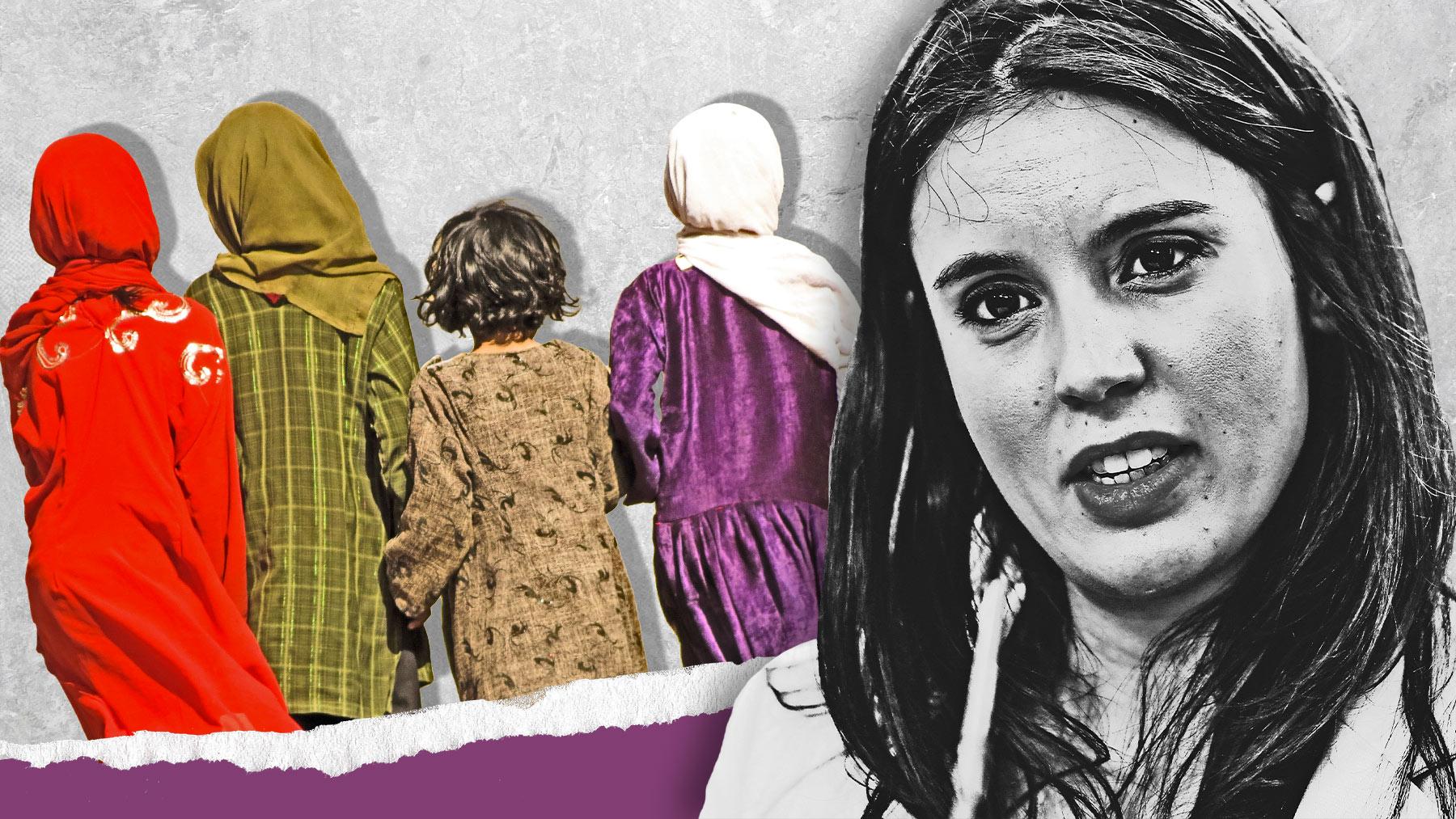 Irene Montero y niñas afganas.