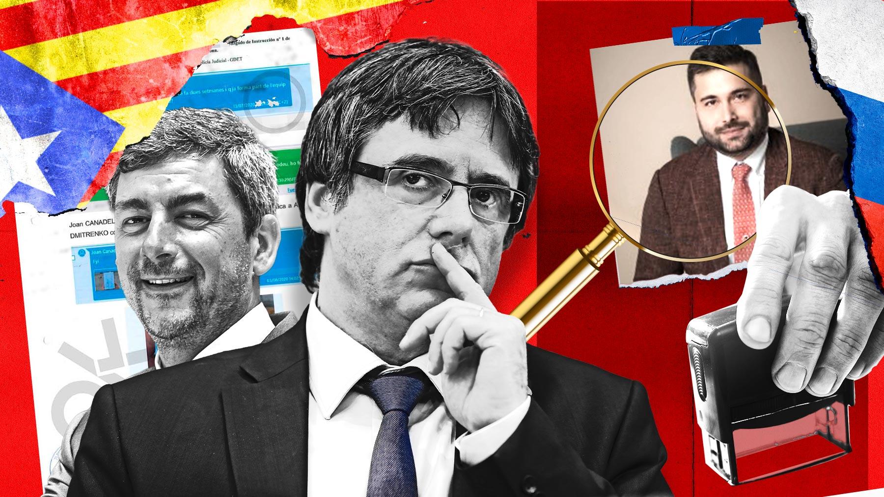 Joan Canadell, Puigdemont y Alexander Dmitrenko.