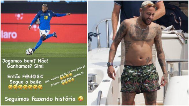 Neymar, con Brasil y en verano.