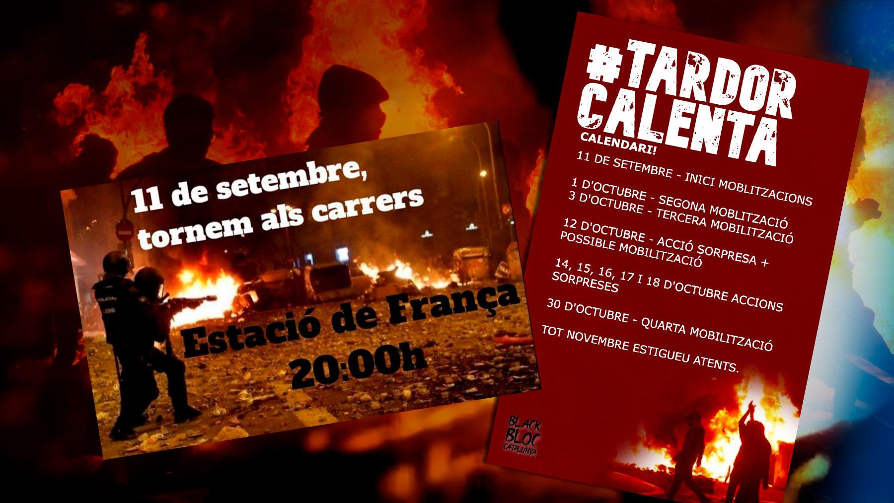 Carteles de los CDR anunciando sus acciones para los meses de septiembre y octubre..