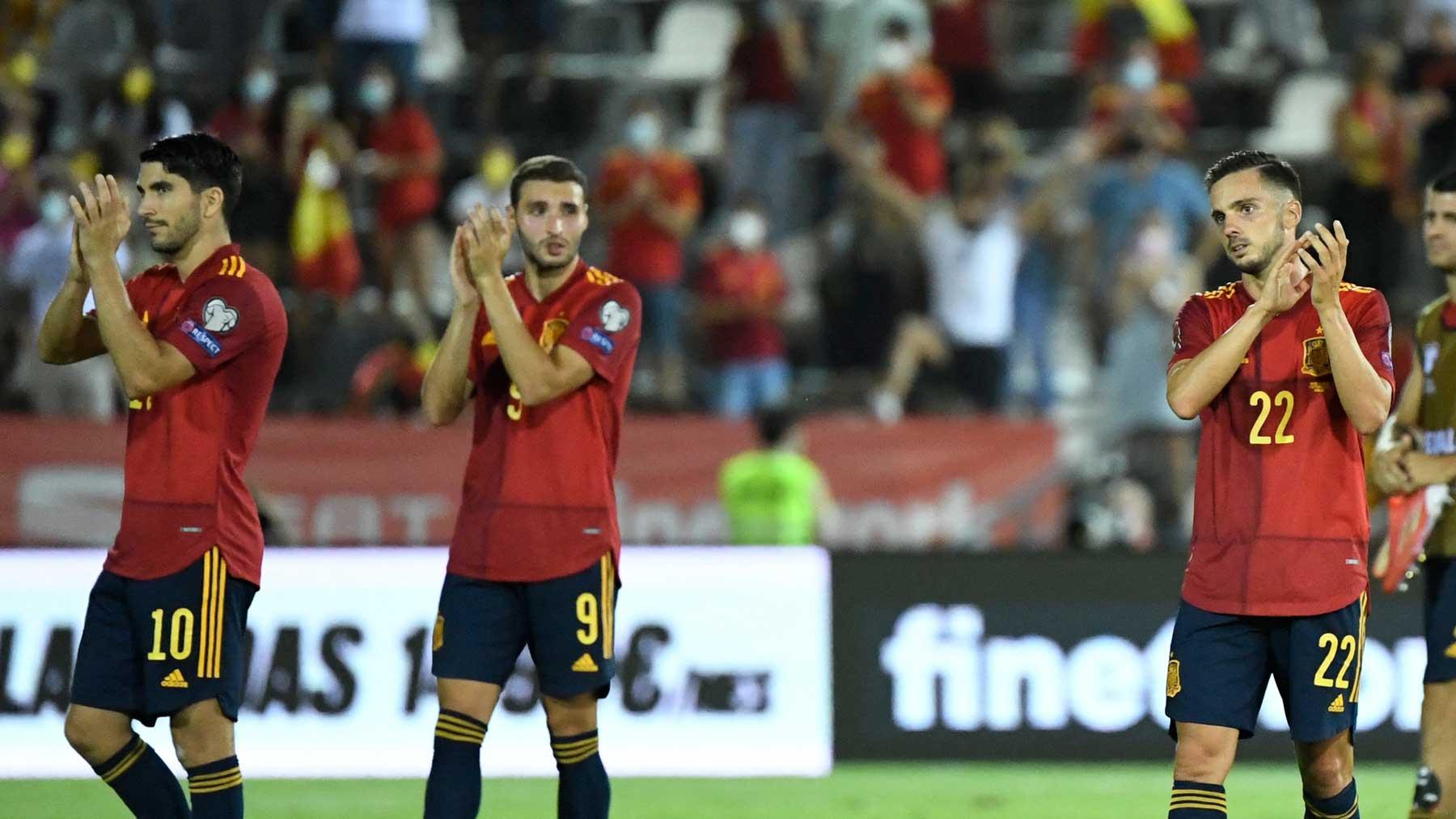 Los jugadores de la selección aplauden tras la victoria a Georgia (AFP)