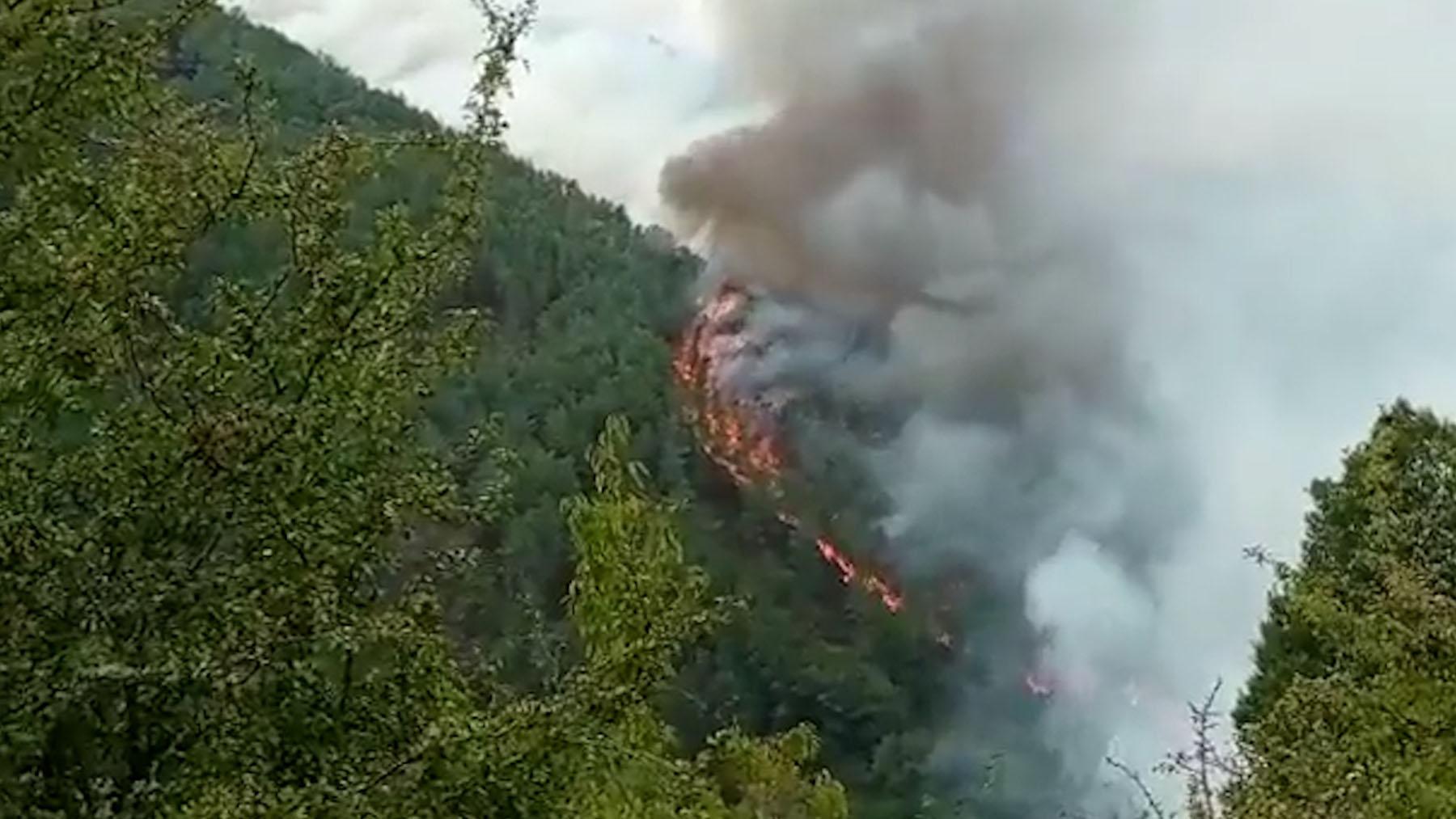 Virulento incendio en La Ribera Sacra, Lugo.