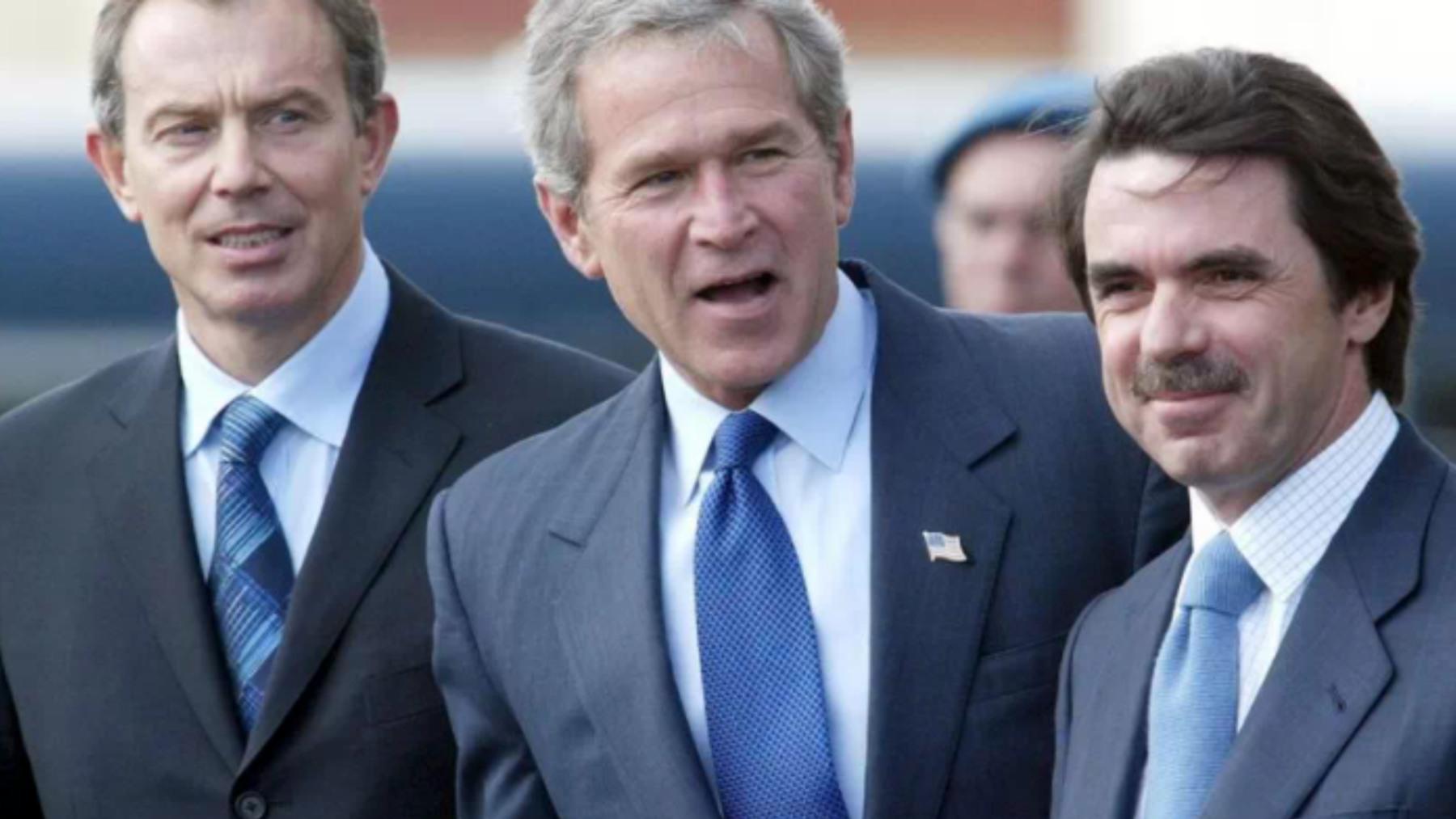 José María Aznar, George W. Bush y Tony Blair.