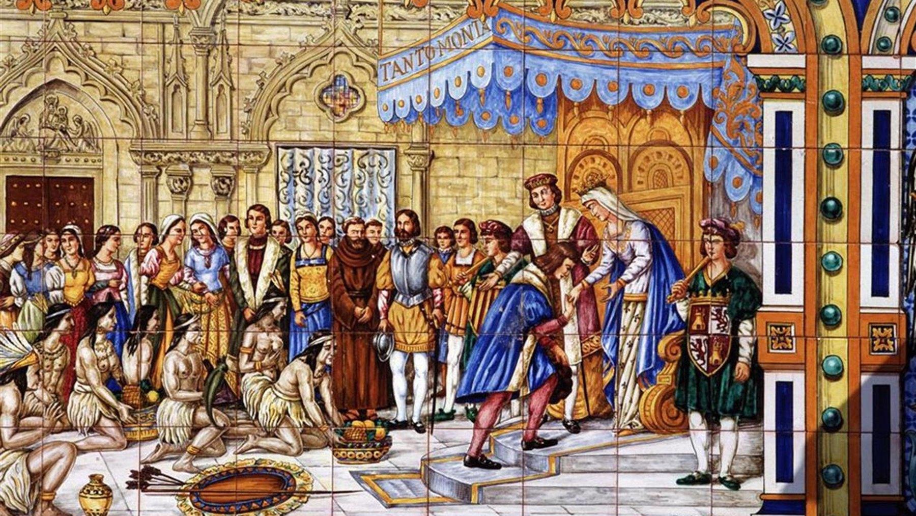 Los Reyes Católicos recibiendo a Cristóbal Colón en Barcelona en 1493
