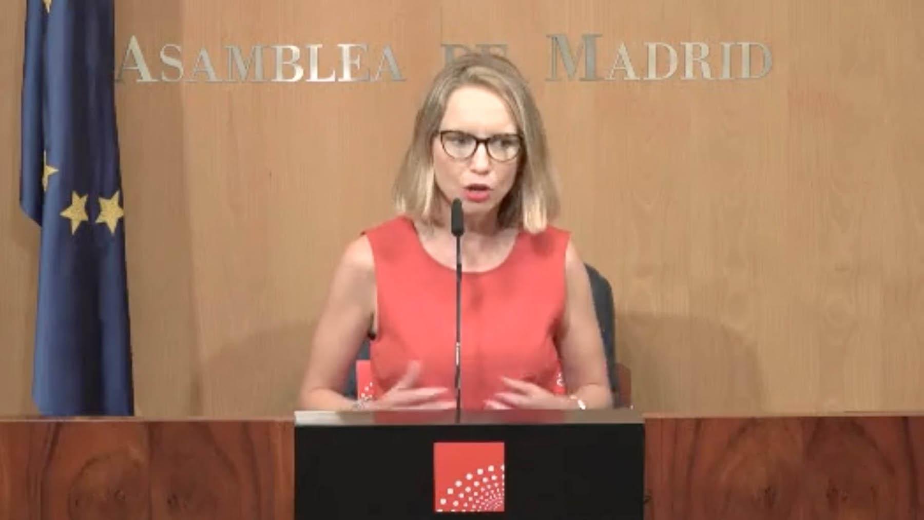 La portavoz de Podemos en la Asamblea de Madrid, Carolina Alonso.
