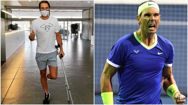 Rafa Nadal reaparece en muletas tras realizarse un tratamiento en el pie