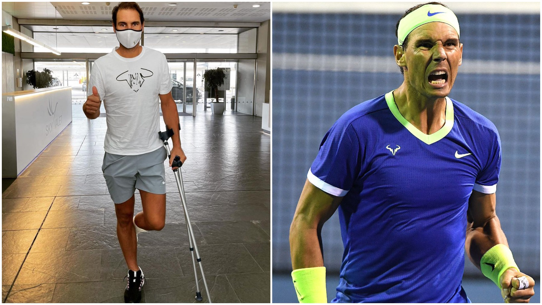 Rafa Nadal, en muletas tras su nuevo tratamiento y en su último partido disputado.