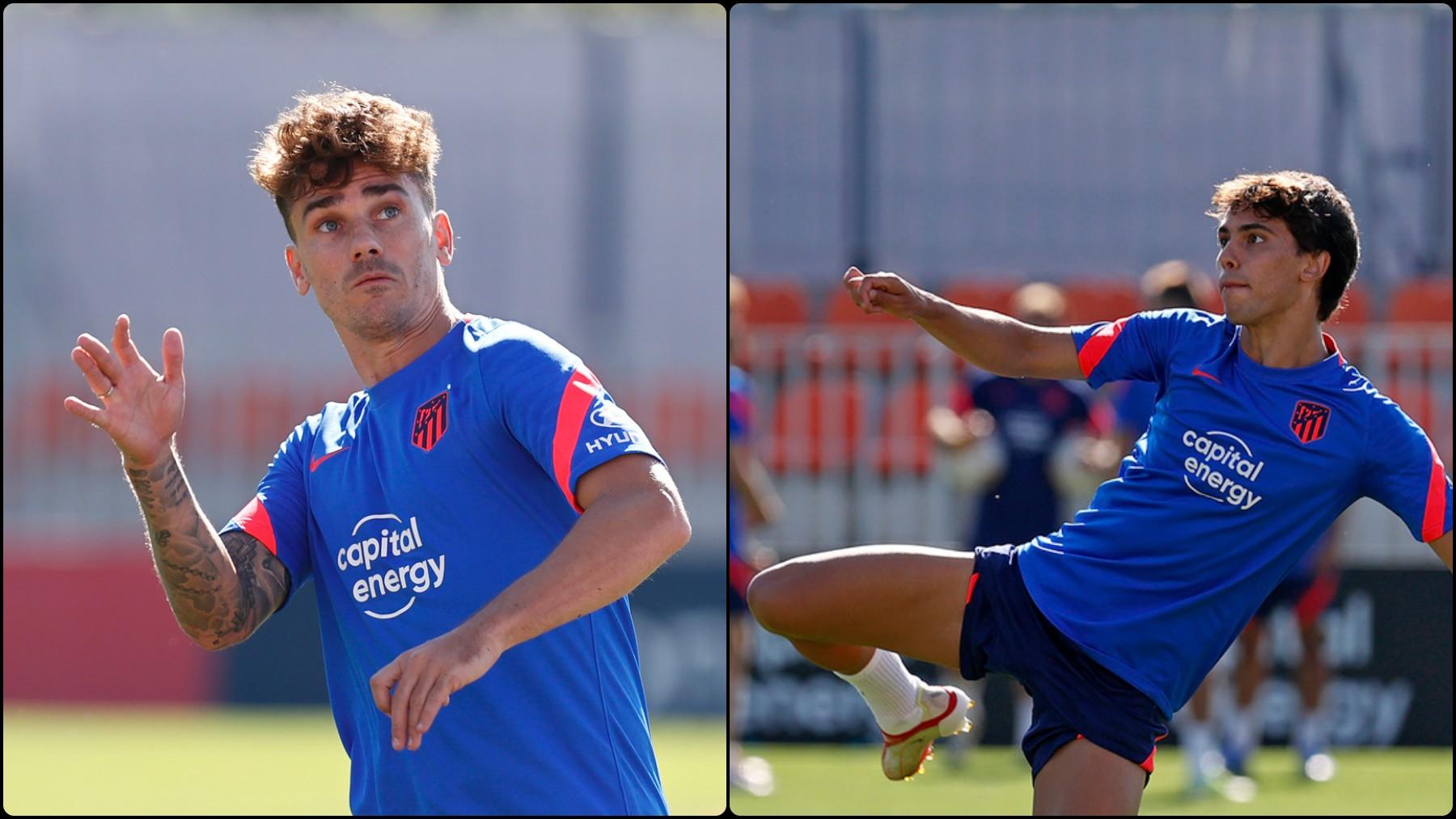 Antoine Griezmann y Joao Félix durante un entrenamiento con el Atlético. (atleticodemadrid.com)