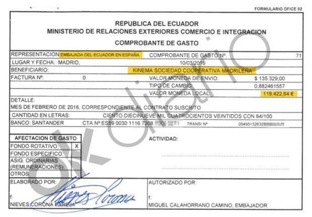 Autorización de pago del Ministerio de Exteriores de Ecuador a Kinema de 119.422,54 euros.