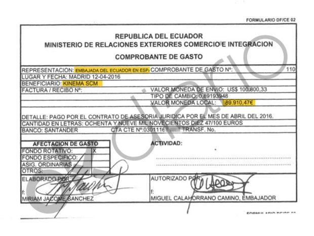 Autorización de pago del Ministerio de Exteriores de Ecuador a Kinema de 89.910,47 euros.