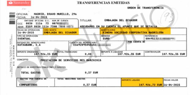 Detalle de una de las transferencia bancarias de 107.926,72 euros de la Embajada de Ecuador en España a Kinema, la cooperativa de Podemos.