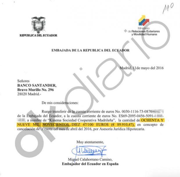 Dos órdenes de pago a Kinema, la cooperativa de Podemos, firmadas por el ex embajador Miguel Calahorrano.