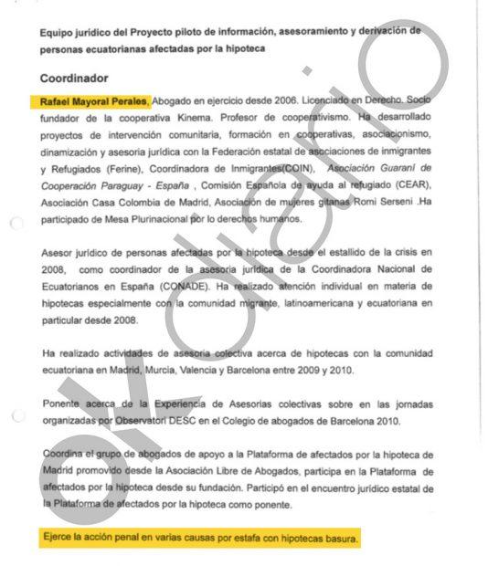 Currículum vítae de Rafael Mayoral enviado al Ministerio de Relaciones Exteriores de Ecuador.